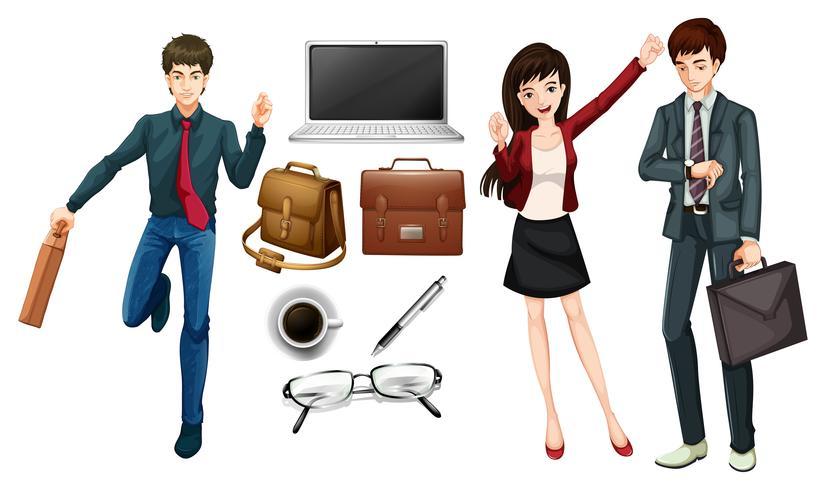 Pessoas de negócios e itens pessoais
