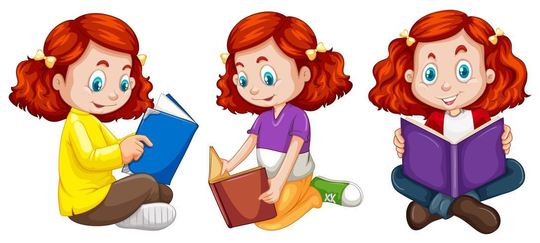 Tres acciones de niña leyendo libro.