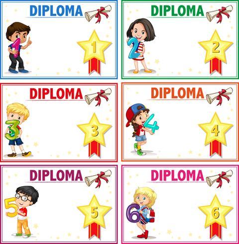 Conjunto de modelo de certificado de diploma
