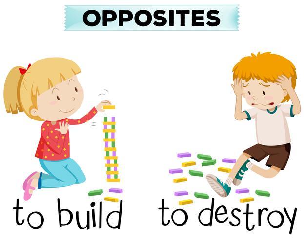 Palabras opuestas para construir y destruir.