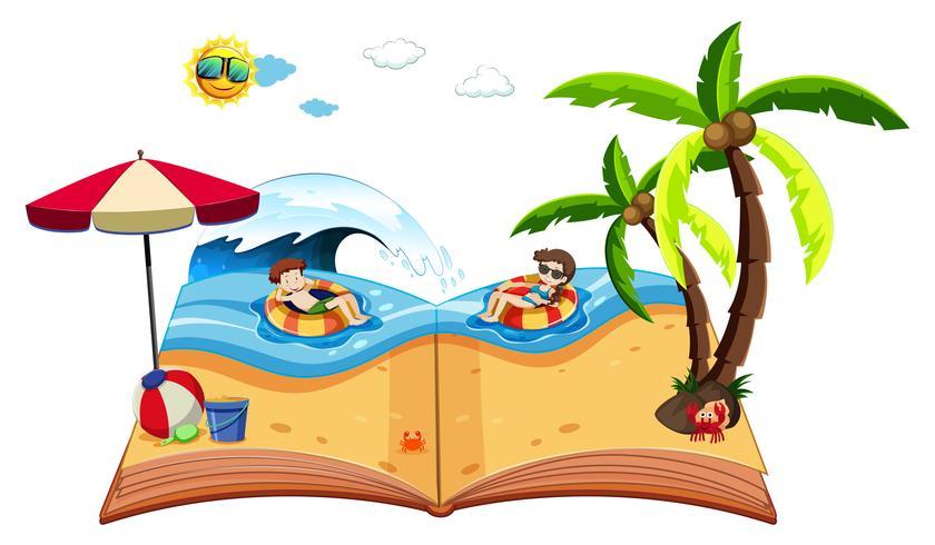 Um livro pop up com cena de praia