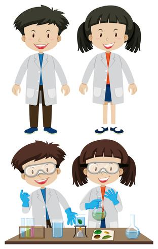 Forskare som bär vita rockar