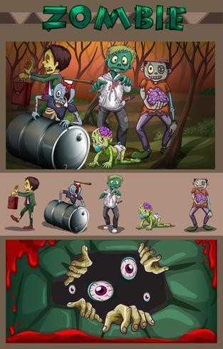 Zombies en el bosque vector