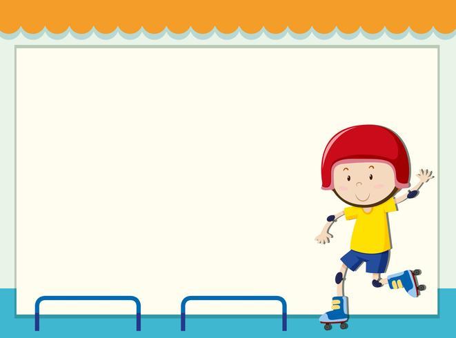 Plantilla de papel con niño patinaje