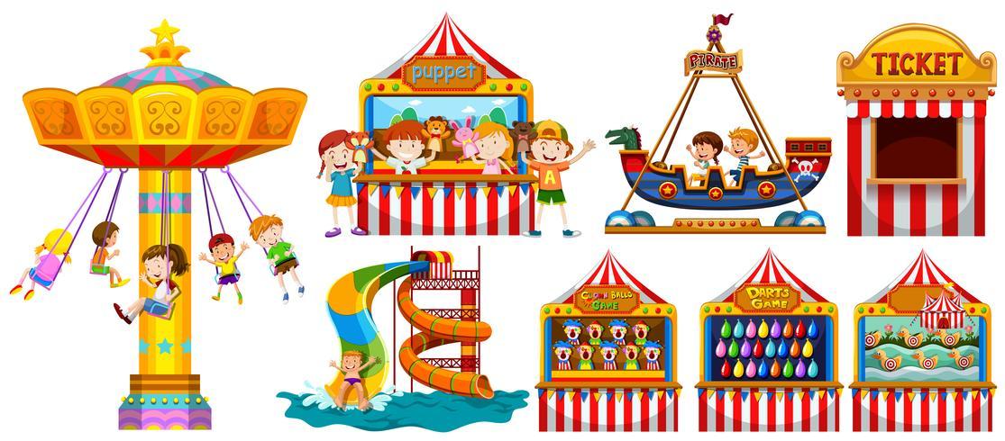 Crianças brincando no parque e muitos jogos