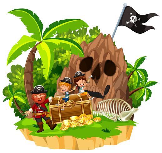 Pirata y niños en la isla