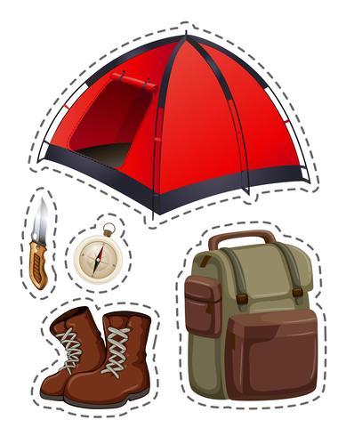 Camping conjunto com tenda e outros objetos