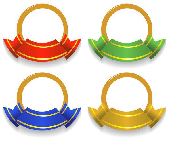 Etichetta design con nastri colorati
