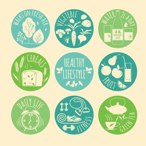 Conjunto de ícones de estilo de vida saudável