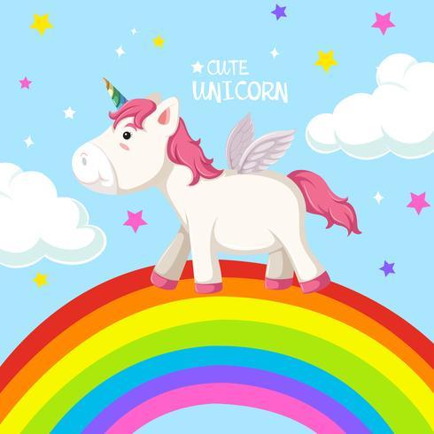 A unicorn on rainbow template
