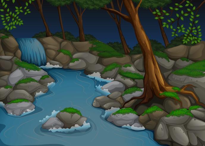 Cena de floresta com cachoeira e árvores à noite