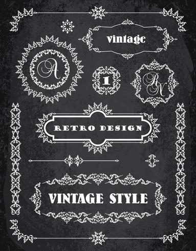 Conjunto de Retro Vintage Insignias, Marcos, Etiquetas y Bordes. Fondo de tablero de tiza