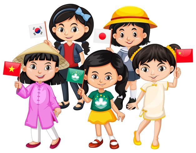 Barn med flagg i olika länder