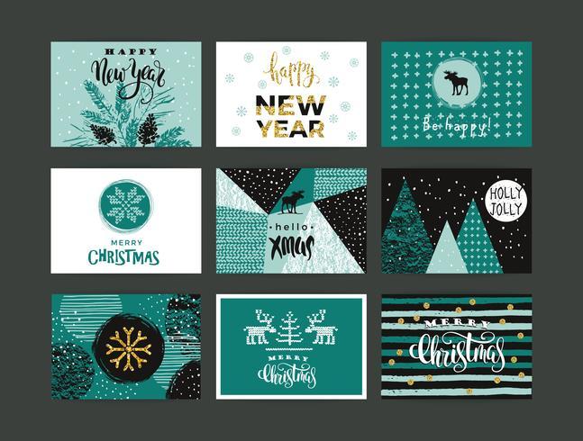 Set med konstnärlig kreativ god jul och nyår