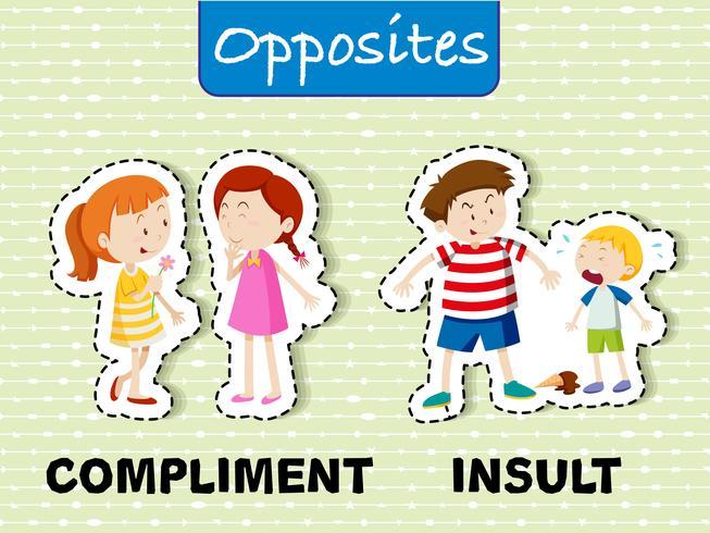 Parole opposte per complimenti e insulti vettore