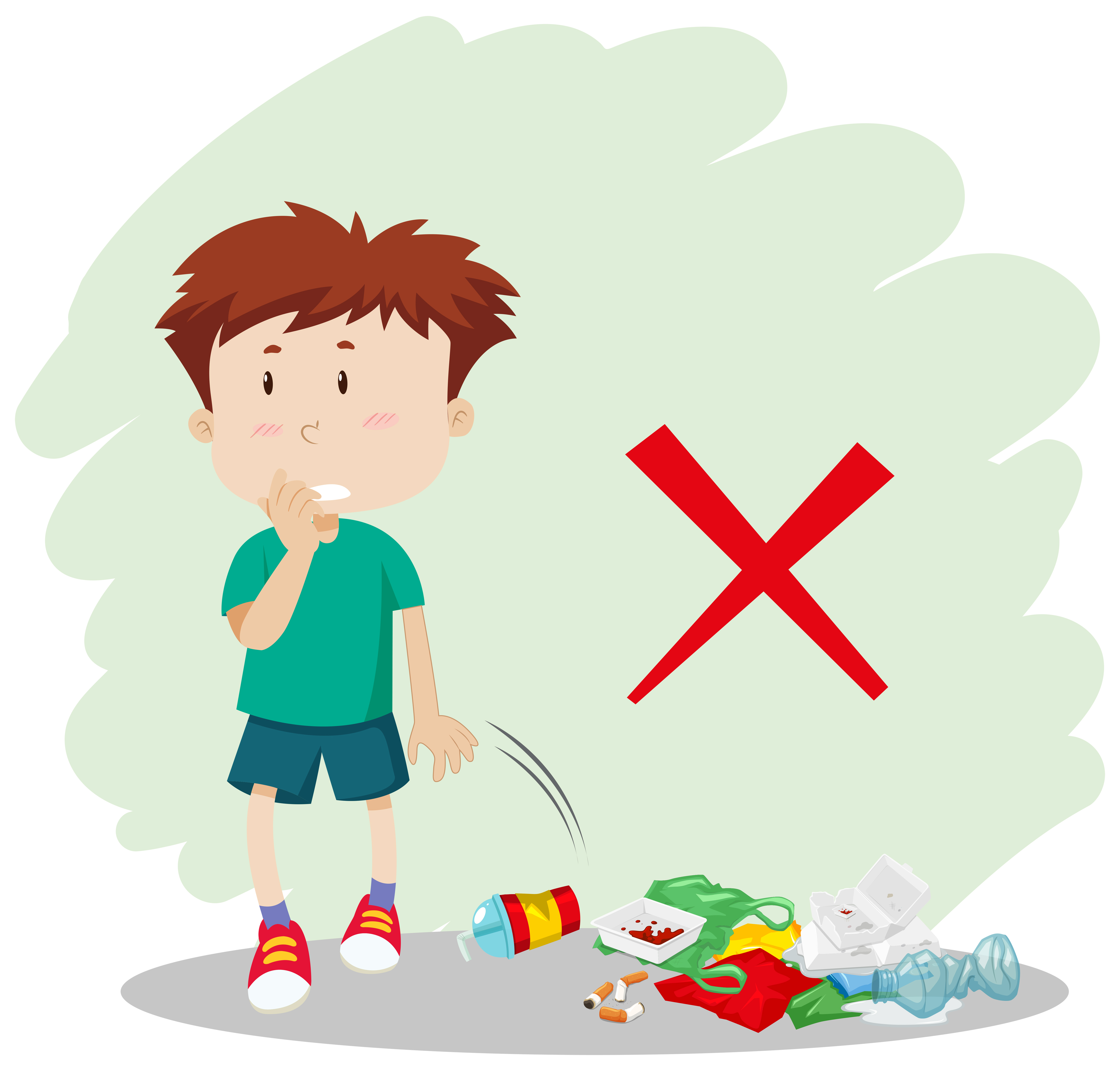 Kid gathering garbage and plastic waste for recycling.vector and  illustration.: Royalty-free vector graphics