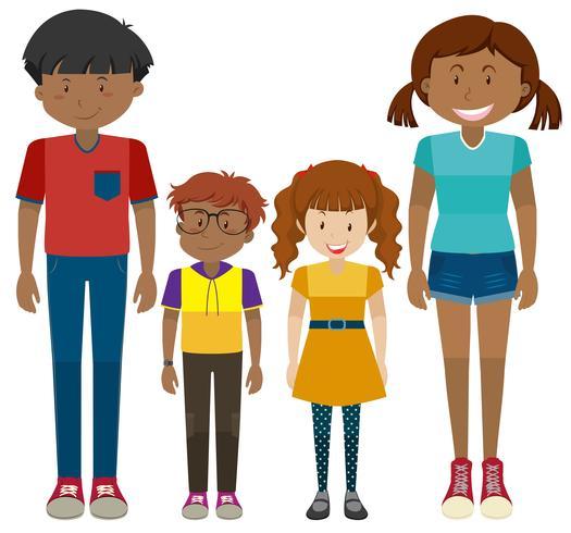 Crianças e adolescentes em pé