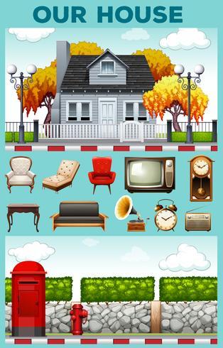 Huis en verschillende soorten meubels