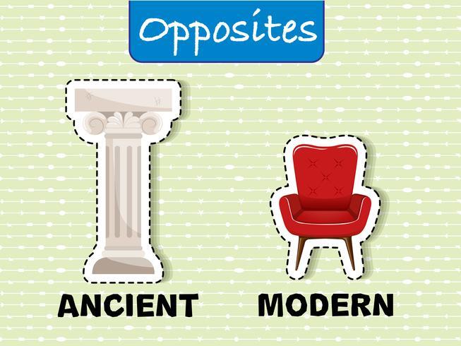 Oud en modern tegenovergesteld woord