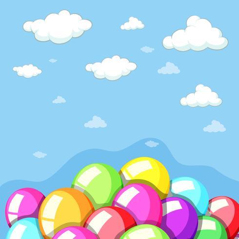 Fond de ciel avec des ballons colorés