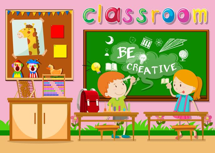 Kinderen studeren in de klas