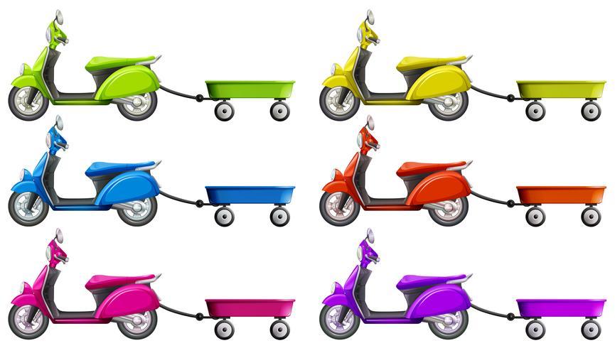 Scooters en wagen in verschillende kleuren