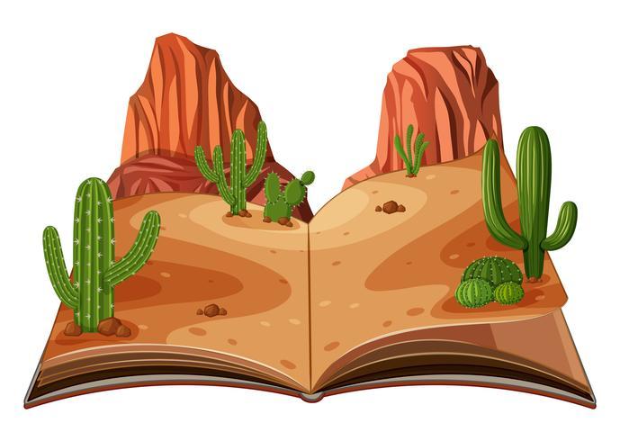 Un pop up libro escena del desierto