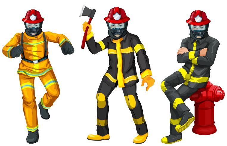 Bombeiros em uniforme