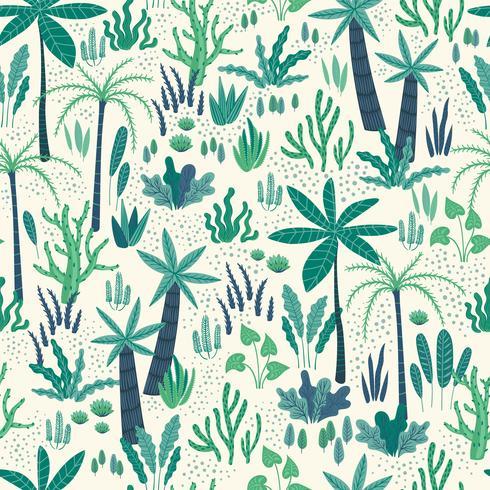 Patrón sin fisuras con plantas tropicales abstractas. Diseño vectorial