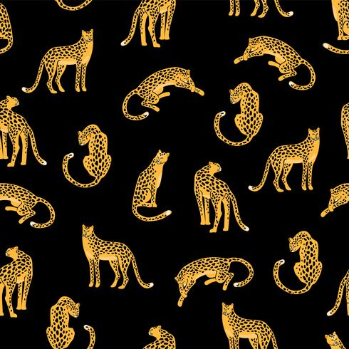 Sin fisuras patrón exótico con siluetas abstractas de leopardos.