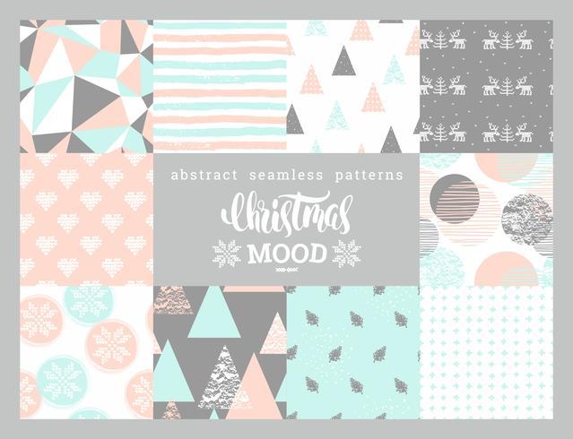 Jul och nyår abstrakt geometriska ornamentiska sömlösa mönster.