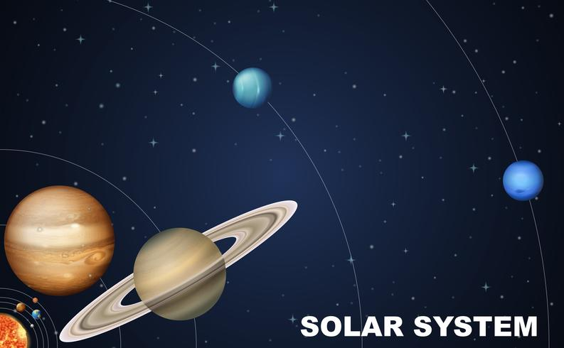 Solar system concept scence vector