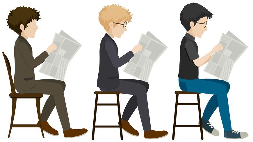 Homens sem rosto lendo