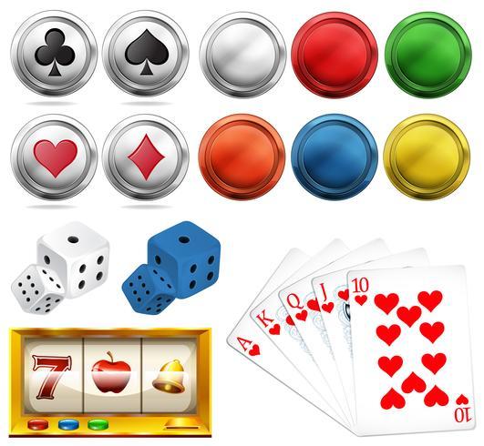 Juego de casino con fichas y tarjetas. vector