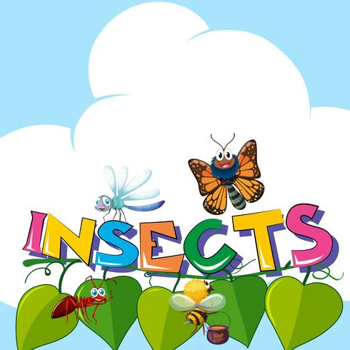 Word insects with many insects on the leaves - Download Free Vector Art, Stock Graphics & Images