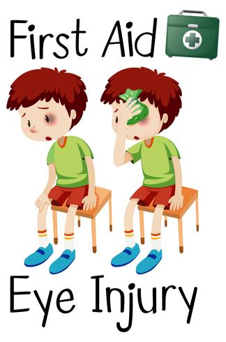 niño primeros auxilios lesión de ojo