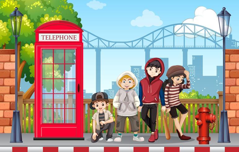 Grupo de moda urbana adolescente.