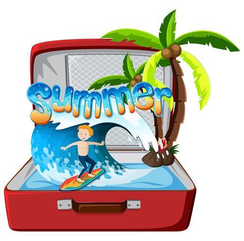 Objet d'été dans une valise