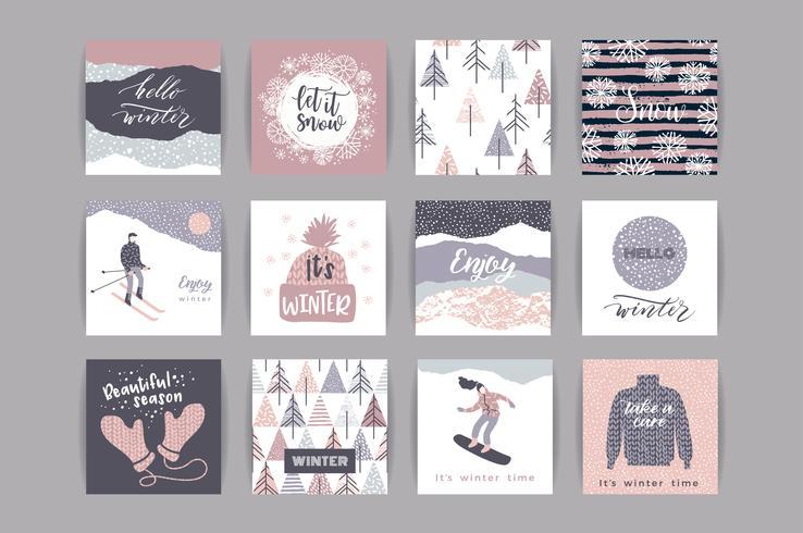 Conjunto de cartões artísticos criativos de inverno.