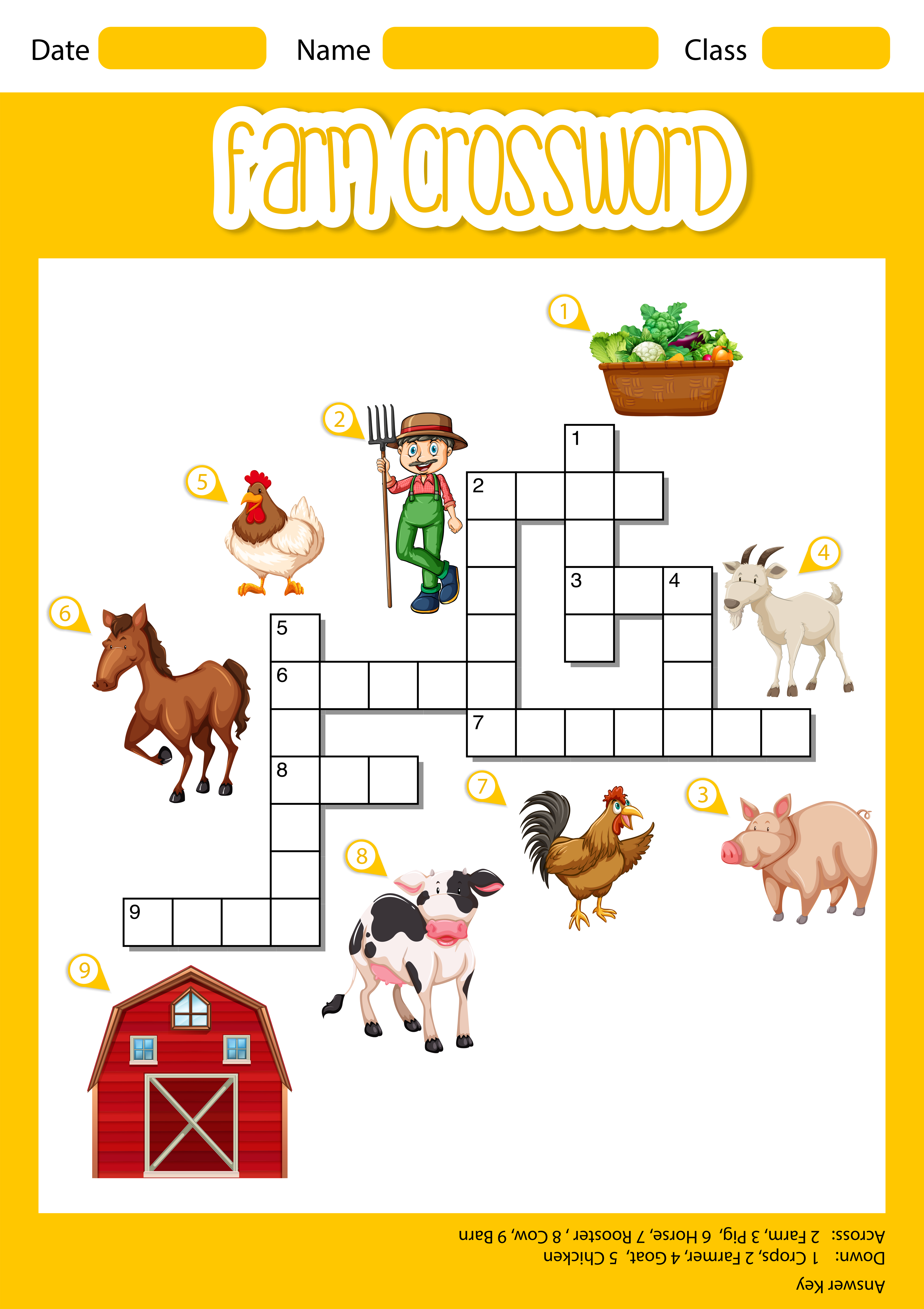 A farm crossword sheet - Download Free Vectors, Clipart ...