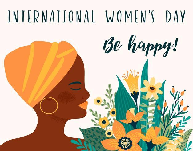 Internationella kvinnodagen. Vektor mall med afrikansk kvinna och blommor