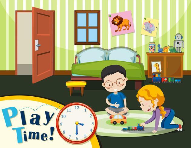 Jungen und Mädchen, die Spielzeug spielen