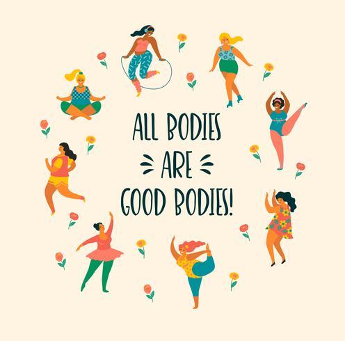 Cuerpo positivo. Felices chicas de talla grande y estilo de vida activo. vector