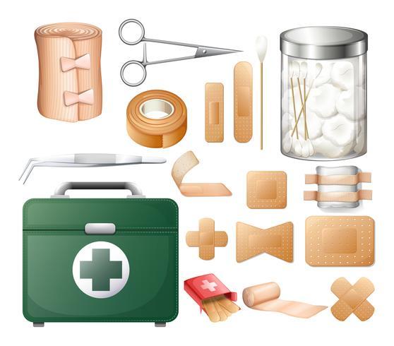 Medizinische Ausrüstung in der Erste-Hilfe-Box