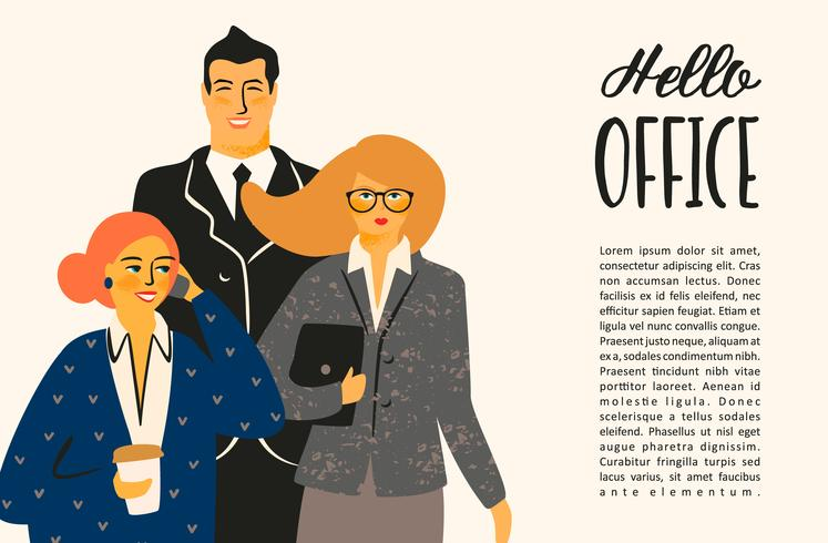 Hello office. Vectior illustration with office workers.