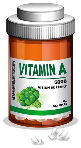 Une bouteille de capsules de vitamine A