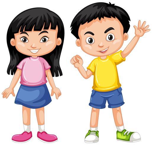 Chico y chica asiáticos con cara feliz