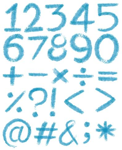 Números en colores azules