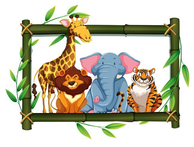 Safaritiere auf Bambusrahmen