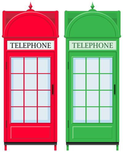 Two vintage telephone booths